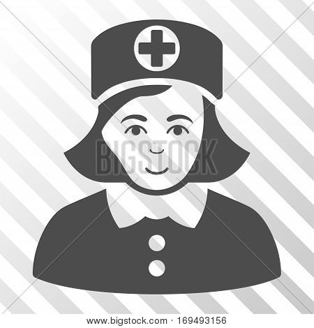 Gray Nurse interface toolbar icon. Vector pictograph style is a flat symbol on diagonally hatched transparent background.