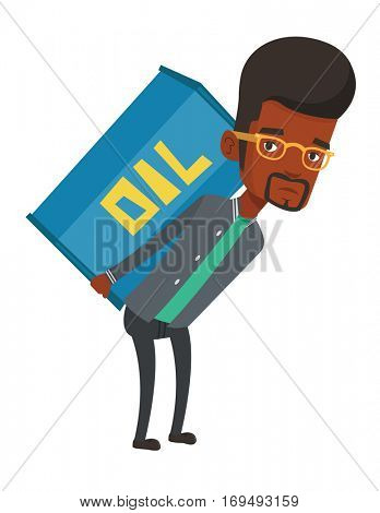 African-american man carrying an oil barrel on his back. Sad man walking with oil barrel on his back. Upset man holding heavy oil barrel. Vector flat design illustration isolated on white background.