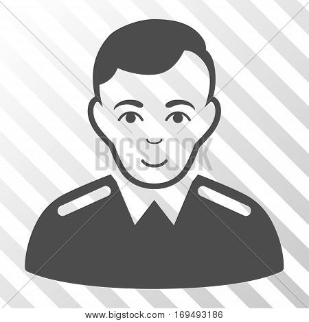Gray Officer toolbar icon. Vector pictograph style is a flat symbol on diagonal hatch transparent background.