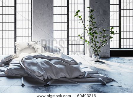 Modern minimalist hipster bed on a carpet on the floor with unmade rumpled bedclothes in front of bright windows in a converted industrial loft, 3d rendering