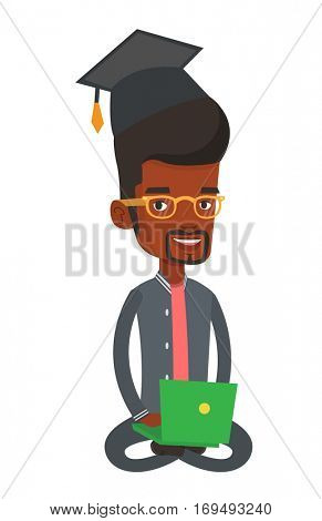 Graduate sitting with laptop on knees. Student in graduation cap working on a computer. Educational technology and graduation concept. Vector flat design illustration isolated on white background.