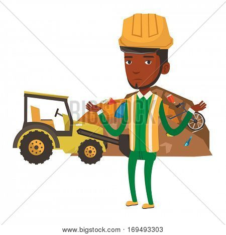 African-american worker of rubbish dump standing with spread arms. Young man standing on the background of rubbish dump and bulldozer. Vector flat design illustration isolated on white background.