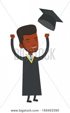 African-american graduate throwing up his hat. Excited graduate in cloak and graduation hat. Happy graduate with hands raised celebrating. Vector flat design illustration isolated on white background.