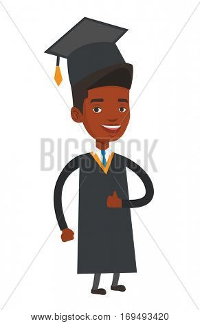 African-american happy smiling graduate in cloak and graduation cap. Cheerful graduate giving thumb up. Joyful graduate celebrating. Vector flat design illustration isolated on white background.