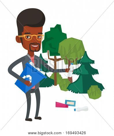 An african man collecting garbage in recycle bin. Man with recycling bin in hand picking up used plastic bottles. Waste recycling concept. Vector flat design illustration isolated on white background.