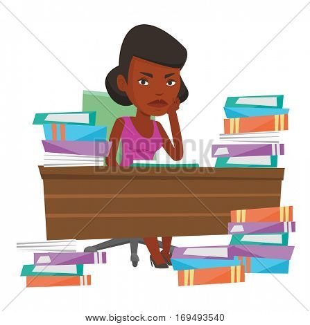 African-american student studying hard before the exam. Young angry student studying with textbooks. Student studying in the library. Vector flat design illustration isolated on white background.