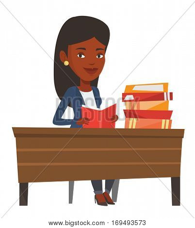 African student reading a book and preparing for exam. Student sitting at the table and holding a book in hands. Student reading a book. Vector flat design illustration isolated on white background.
