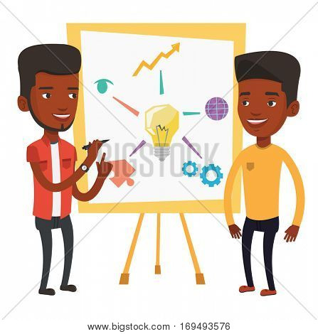 Two african businessmen discussing a project. Group of businessmen working on project. Businessman drawing business project on a board. Vector flat design illustration isolated on white background.