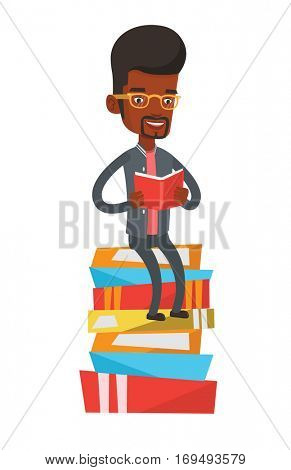 African-american student sitting on huge pile of books. Student reading book. Smiling man sitting on stack of books with book in hands. Vector flat design illustration isolated on white background
