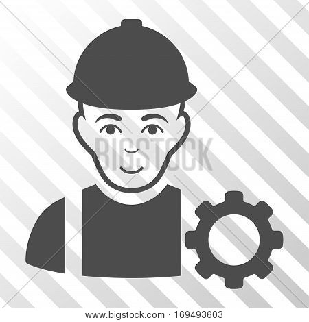 Gray Repairman toolbar pictogram. Vector pictograph style is a flat symbol on diagonal hatch transparent background.