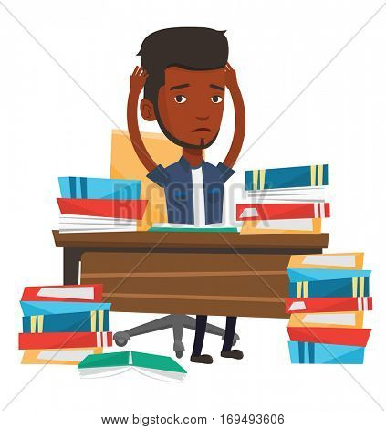 African-american student studying hard before exam. Stressed student studying with textbooks. Desperate student studying in the library. Vector flat design illustration isolated on white background.