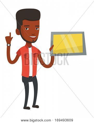 Student using tablet computer. Student holding tablet computer and pointing finger up. Student searching information on tablet computer. Vector flat design illustration isolated on white background.