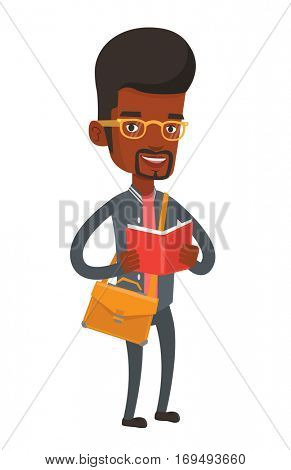 African-american student reading a book. Cheerful male student reading a book and preparing for exam. Student standing with book in hands. Vector flat design illustration isolated on white background