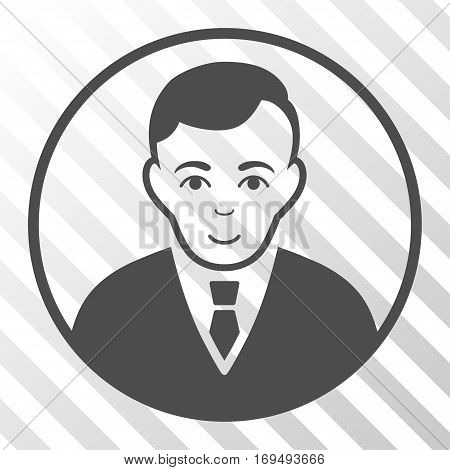 Gray Rounded Gentleman interface toolbar pictogram. Vector pictograph style is a flat symbol on diagonally hatched transparent background.