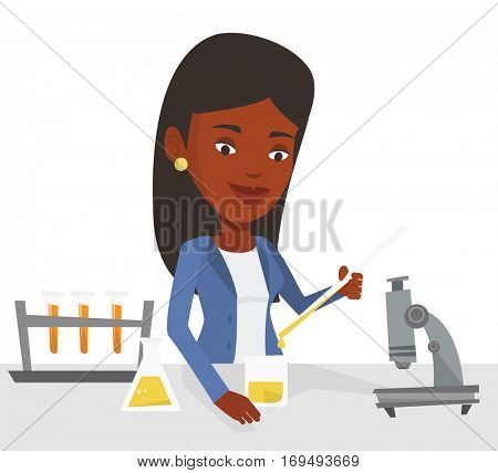 Student carrying out laboratory experiment. Student working with microscope at laboratory class. Student experimenting in laboratory. Vector flat design illustration isolated on white background.