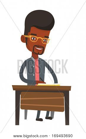 African-american student sitting at the table and writing. Young smiling student writing in exercise book. Happy student doing homework. Vector flat design illustration isolated on white background.