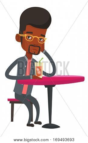 African man sitting in bar and drinking cocktail. Sad man sitting alone in bar with cocktail on the table. Man drinking cocktail in bar. Vector flat design illustration isolated on white background.