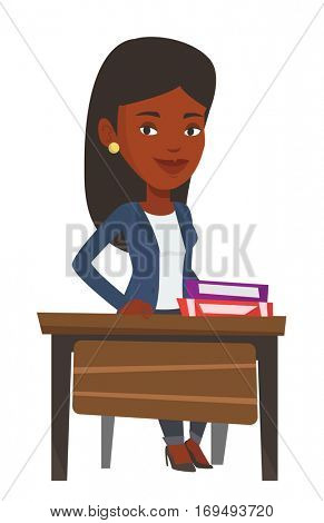 African-american student sitting at the desk with pile of books. Smiling student sitting at school lesson. Student sitting in classroom. Vector flat design illustration isolated on white background.
