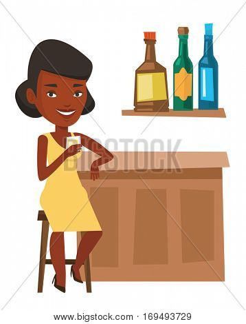 African woman sitting at the bar counter. Woman sitting with glass in bar. Woman sitting alone and celebrating with alcohol drink in bar. Vector flat design illustration isolated on white background.