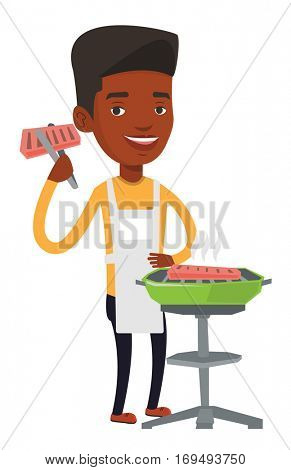 An african-american man cooking steak on the barbecue grill. Man preparing steak on the barbecue grill. Happy man having outdoor barbecue. Vector flat design illustration isolated on white background.