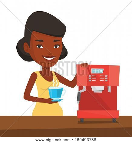 An african-american young woman using coffee-machine. Woman holding cup of hot coffee in hand. Woman standing beside a coffee machine. Vector flat design illustration isolated on white background.