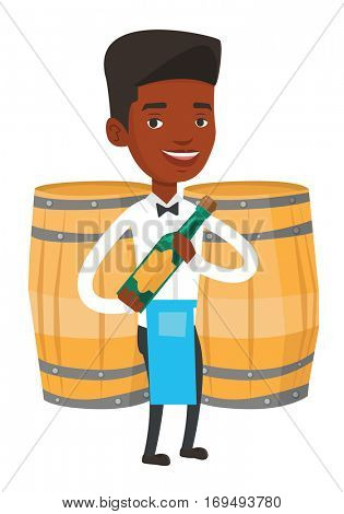 African-american waiter standing with bottle of wine in hands. Young waiter holding a bottle of alcohol. Waiter presenting a wine bottle. Vector flat design illustration isolated on white background.