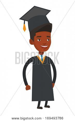 African-american happy smiling graduate in cloak and graduation cap. Joyful graduate celebrating. Education and graduation concept. Vector flat design illustration isolated on white background.