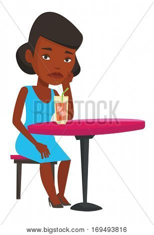African woman sitting in bar and drinking cocktail. Woman sitting alone in bar with cocktail on the table. Woman drinking cocktail in bar. Vector flat design illustration isolated on white background.