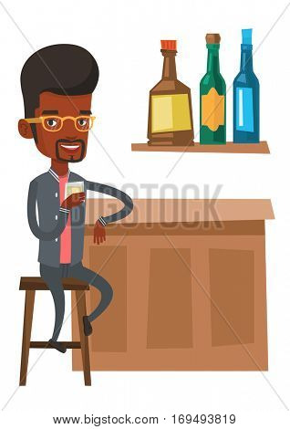 African man sitting at the bar counter. Man sitting with glass in bar. Man sitting alone and celebrating with an alcohol drink in bar. Vector flat design illustration isolated on white background.