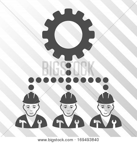 Gray Service Staff interface pictogram. Vector pictograph style is a flat symbol on diagonally hatched transparent background.