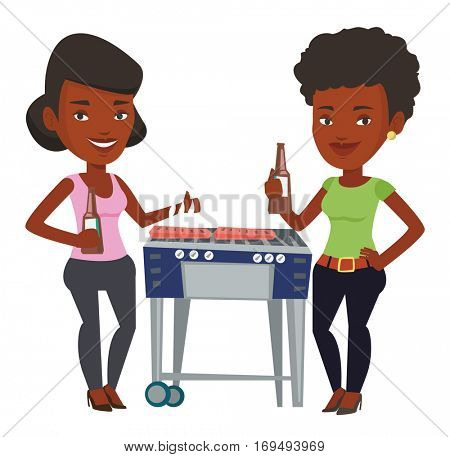 African female friends at barbecue party. Friends preparing barbecue and drinking beer. Group of friends having fun at a barbecue party. Vector flat design illustration isolated on white background.