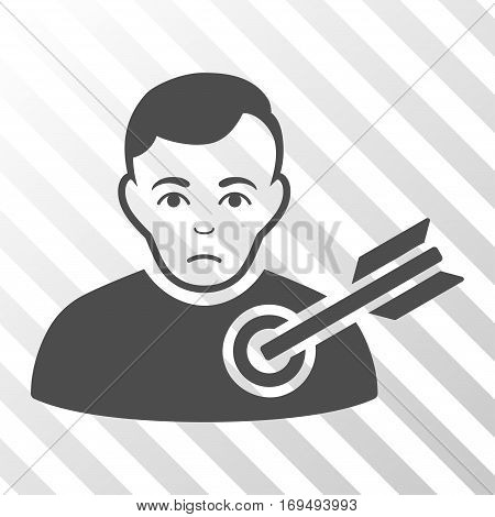 Gray Target Man interface toolbar icon. Vector pictogram style is a flat symbol on diagonally hatched transparent background.