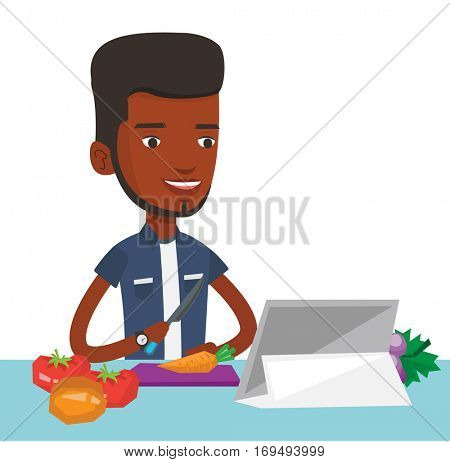 Man cutting healthy vegetables for salad. Man following recipe for vegetable salad on digital tablet. Man cooking healthy vegetable salad. Vector flat design illustration isolated on white background.