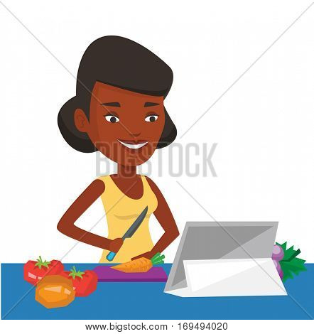 Woman cutting vegetables for salad. Woman following recipe for vegetable salad on digital tablet. Woman cooking healthy vegetable salad. Vector flat design illustration isolated on white background.