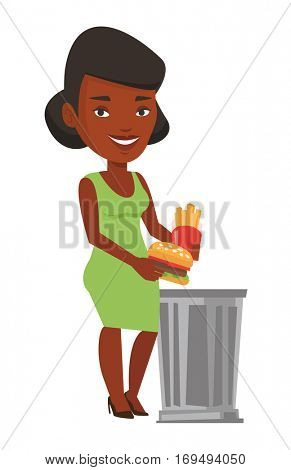 African-american woman putting junk food into a trash bin. Woman refusing to eat junk food. Woman throwing away junk food. Diet concept. Vector flat design illustration isolated on white background.