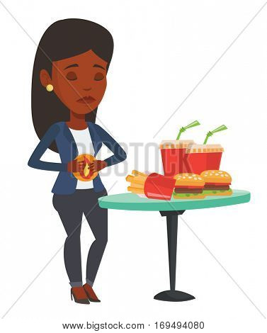 African-american woman suffering from heartburn. Woman having stomach ache from heartburn. Woman having stomach ache after fast food. Vector flat design illustration isolated on white background.