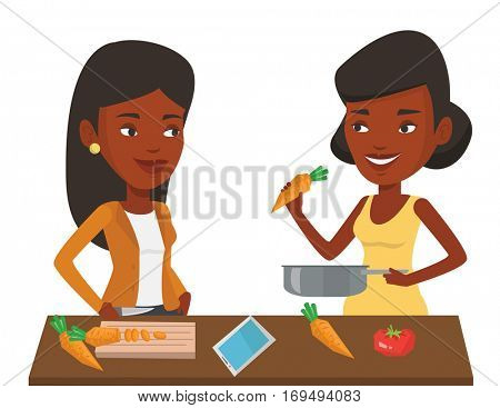 African young women cooking healthy vegetable meal. Women having fun while cooking together healthy meal. Women preparing vegetable meal. Vector flat design illustration isolated on white background.