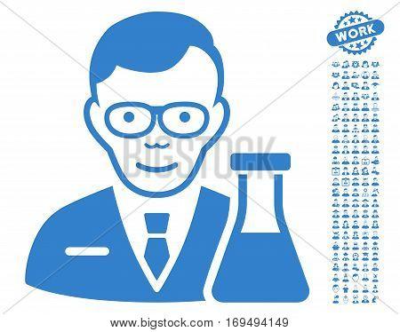 Chemist icon with bonus occupation images. Vector illustration style is flat iconic cobalt symbols on white background.