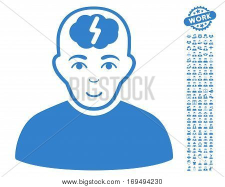 Clever Boy icon with bonus people pictograph collection. Vector illustration style is flat iconic cobalt symbols on white background.