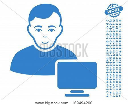 Computer Administrator icon with bonus avatar pictures. Vector illustration style is flat iconic cobalt symbols on white background.