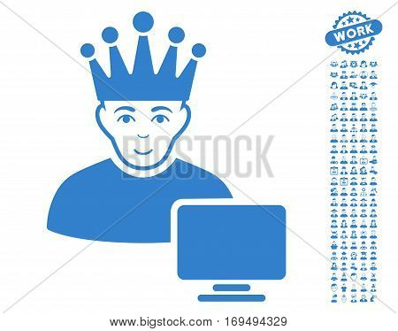 Computer Moderator pictograph with bonus avatar design elements. Vector illustration style is flat iconic cobalt symbols on white background.