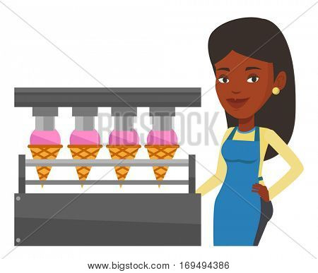 African worker of ice cream manufacture. Worker of factory producing ice-cream. Woman working on automatic production line of ice cream. Vector flat design illustration isolated on white background.