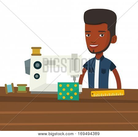 African seamstress working in cloth factory. Male seamstress sewing on industrial sewing machine. Male seamstress using sewing machine. Vector flat design illustration isolated on white background.