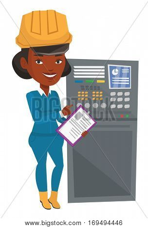 Woman working on control panel. Worker in hard hat pressing button at control panel. Engineer standing in front of the control panel. Vector flat design illustration isolated on white background