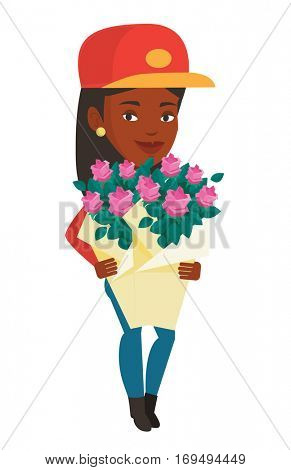 African female delivery courier delivering flowers. Delivery courier with bouquet of flowers. Delivery courier holding bouquet of flowers. Vector flat design illustration isolated on white background.