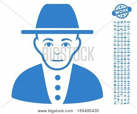 Jewish person pictograph with bonus men pictograph collection. Vector illustration style is flat iconic cobalt symbols on white background.