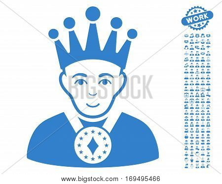 King pictograph with bonus human design elements. Vector illustration style is flat iconic cobalt symbols on white background.