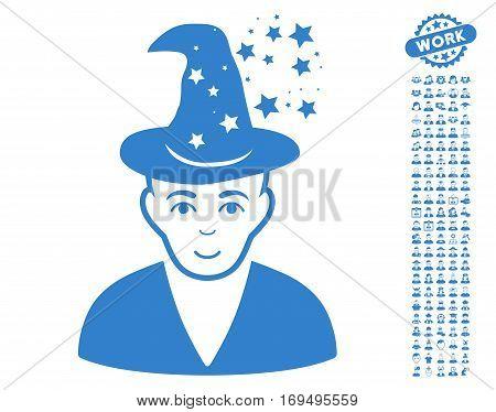 Magic Master icon with bonus people graphic icons. Vector illustration style is flat iconic cobalt symbols on white background.