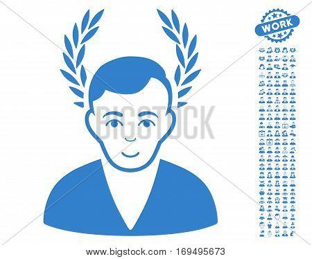 Man Glory pictograph with bonus human symbols. Vector illustration style is flat iconic cobalt symbols on white background.