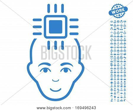 Neural Computer Interface icon with bonus men clip art. Vector illustration style is flat iconic cobalt symbols on white background.